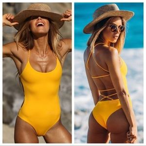Other - Yellow Strappy One Piece Swimsuit